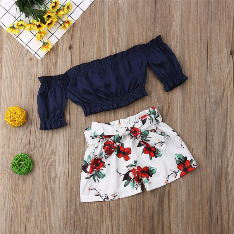 1-6T Little Kids Girls Summer 2pcs Outfit Casual Floral Off Shoulder Ruffle Crop Tops Bow Shorts Clothes Sets