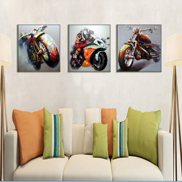 Atfart Living Room Hall Wall Art Handmade Landscape Oil: Race Car Driver Wall Art Motorcycle Pictures Handmade Oil