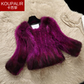 New arrival natural raccoon dog fur coats women short slim gradient color real fur coat outerwear 2017 autumn and winter