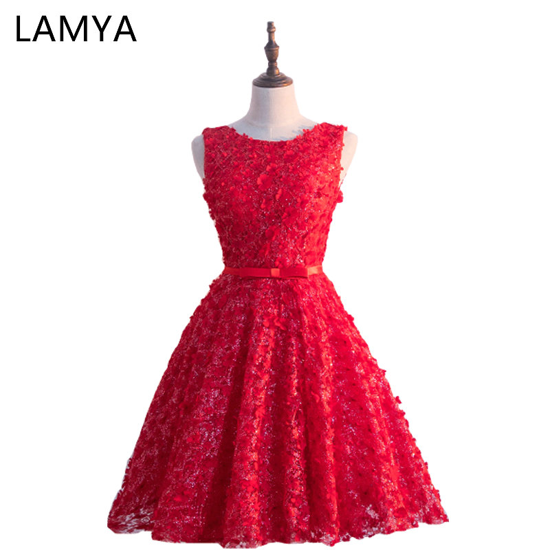 LAMYA 2018 Luxurious Full Appliques Short   Prom     Dress   Princess Elegant Evening Party Gown Special Occasion   Dresses
