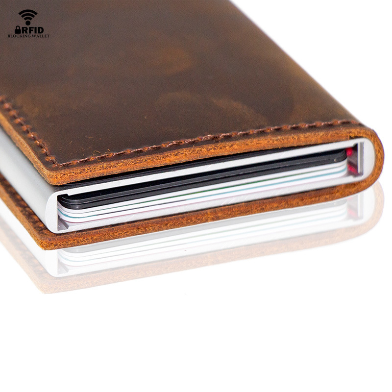 Image 4 - Custom Fathers Day Gifts Genuine Leather RFID Blocking Minimalism Wallets Automatic Nederlands Card Wallet Cardholde LuxuryCard & ID Holders   -