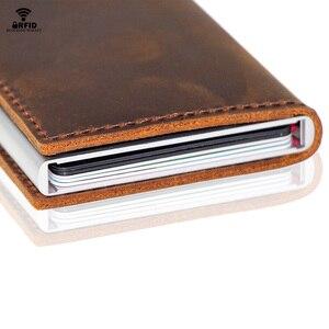 Image 4 - VM FSAHION قبلة جلد طبيعي RFID حجب بساطتها محافظ التلقائي المنبثقة البسيطة بطاقة محفظة جلدية بطاقة محفظة Cardholde