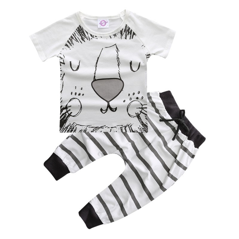 662804d00 Summer newborn baby boy clothing set summer cartoon T shirt+ pants ...