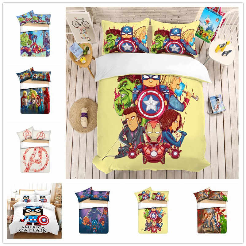 Disney Cartoon Avengers Children bedding set boy girl Duvet cover pillow cases single double twin full queen king size  Gift