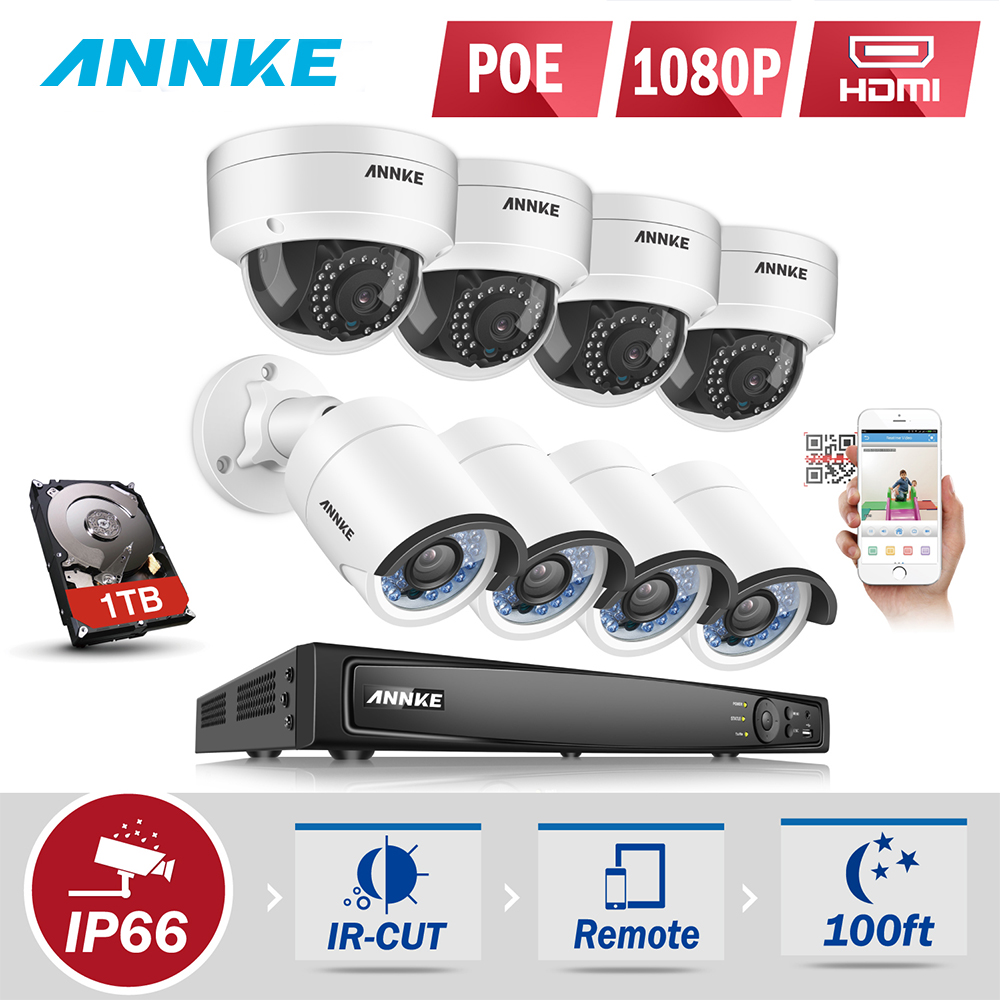 ANNKE 1080P POE Surveillance Camera System 8CH 6MP Security NVR With 8PCS 2MP CCTV Outdoor Weatherproof Camera 3D DNR Onvif P2P