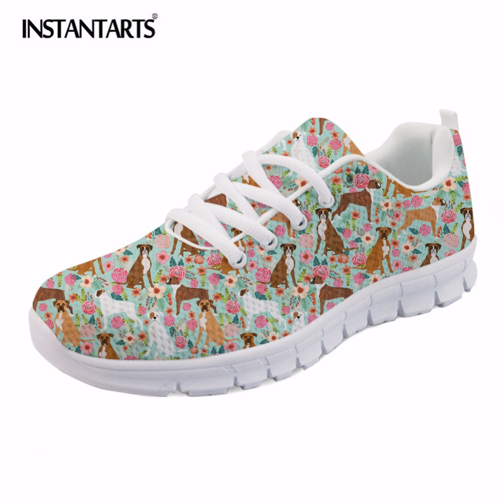INSTANTARTS Cute Boxer Dog Print Women Mesh Flat Shoes Summer Lace Up Sneakers Ladies Female Animal Flower Design Walking Shoes instantarts cute cartoon pediatrics doctor print summer mesh sneakers women casual flats super light walking female flat shoes