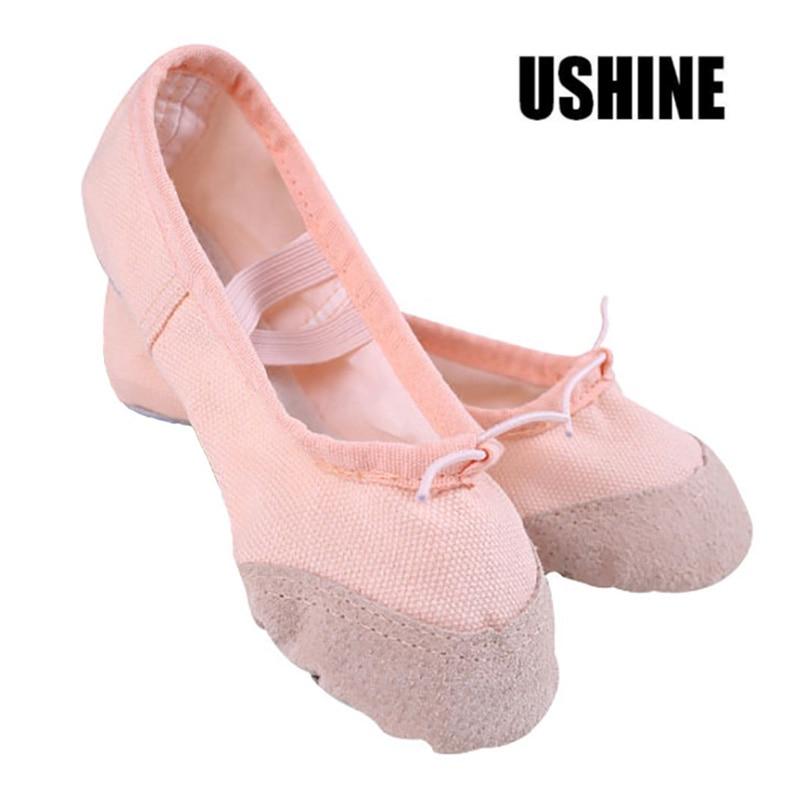 USHINE Soft Black Red White Pink Flat Teacher Yoga Ballet Shoes Canvas Ballet Shoes Kids For Girls Woman Children