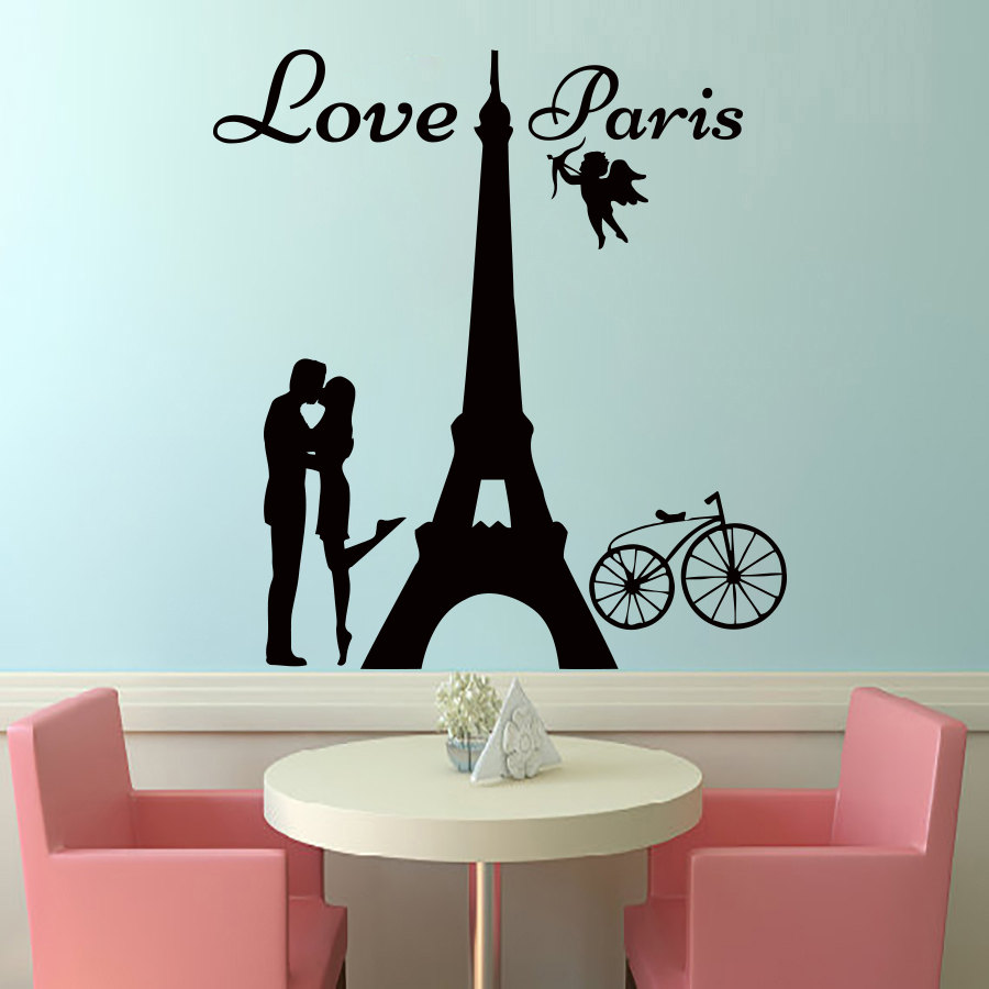 DCTOP Angels Love Paris Wall Decals Lover Kissing And Bike Removable Home  Decor PVC Wall Art