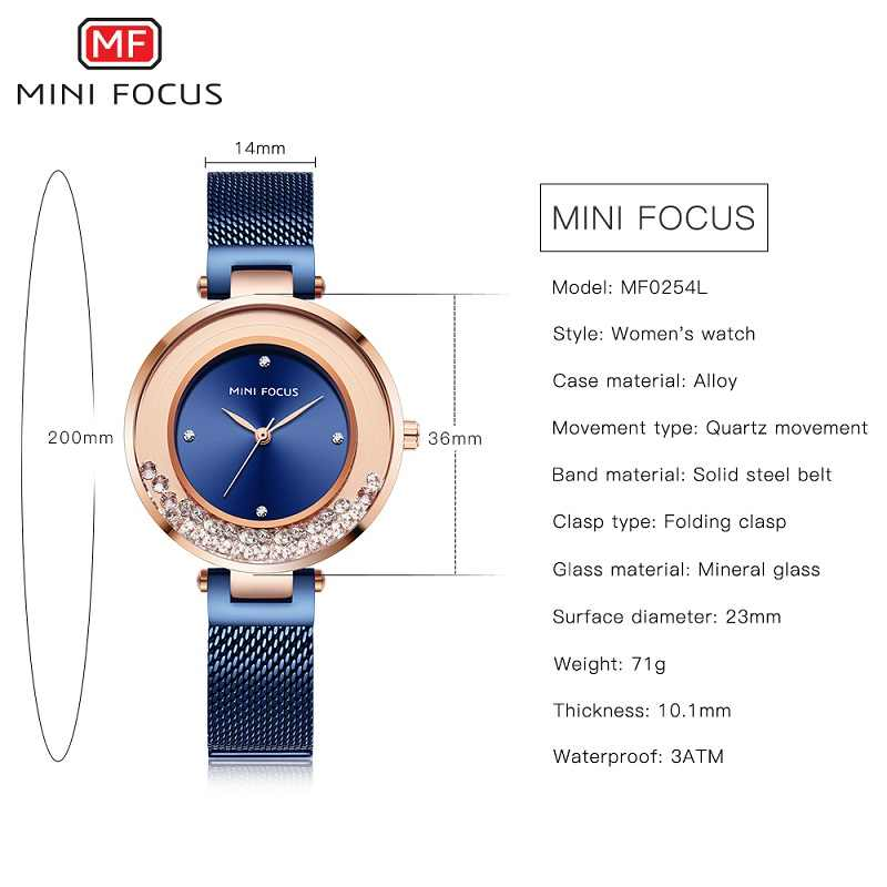 מיני פוקוס קוורץ נשים שעונים יוקרה נירוסטה ליידי כחול שמלת שעון מותג בנות אופנה אנלוגי עמיד למים שעוני יד