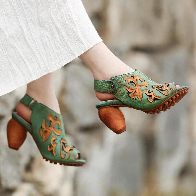 2017 nuovo di modo di estate di svago Scava fuori il modello di pelle bovina Dopo Che il peep toe belt loop 8 centimetri tacchi alti sandali di cuoio femminili-in Tacchi alti da Scarpe su  Gruppo 2