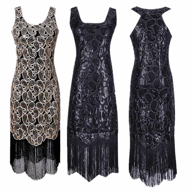 147c45ab Women Flapper Dress V Neck Fringe Sequined 1920s Vintage Gatsby Dress  Roaring 20s Tassel Art Deco