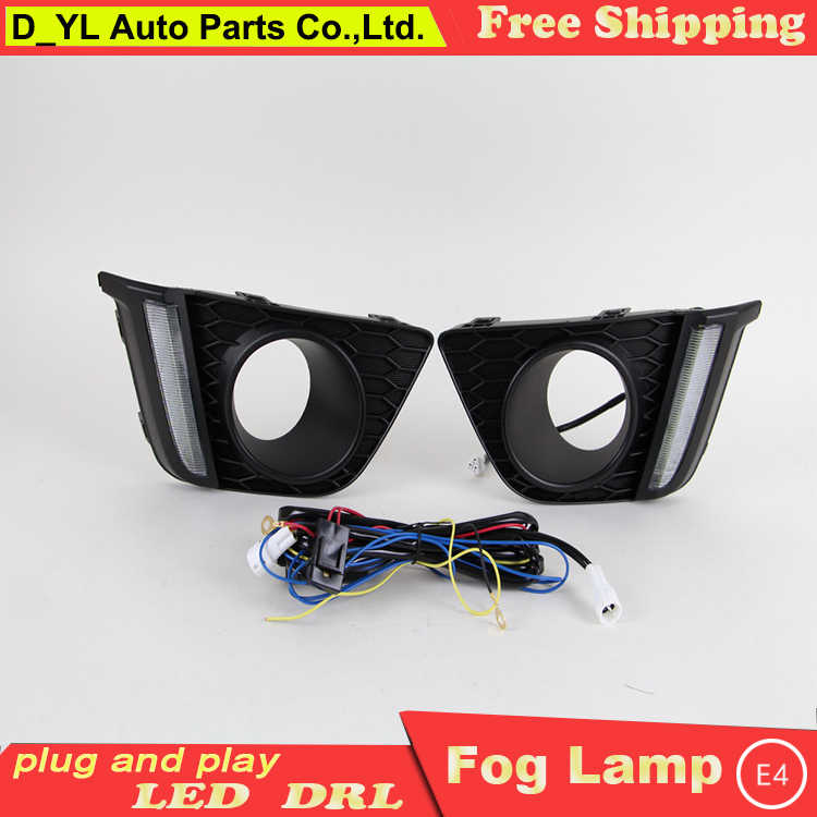 Car Styling Daytime Running Lights for Honda Fit LED DRL 2014-2015 Fit Ice Blue subsection LED Fog Light Front Lamp.