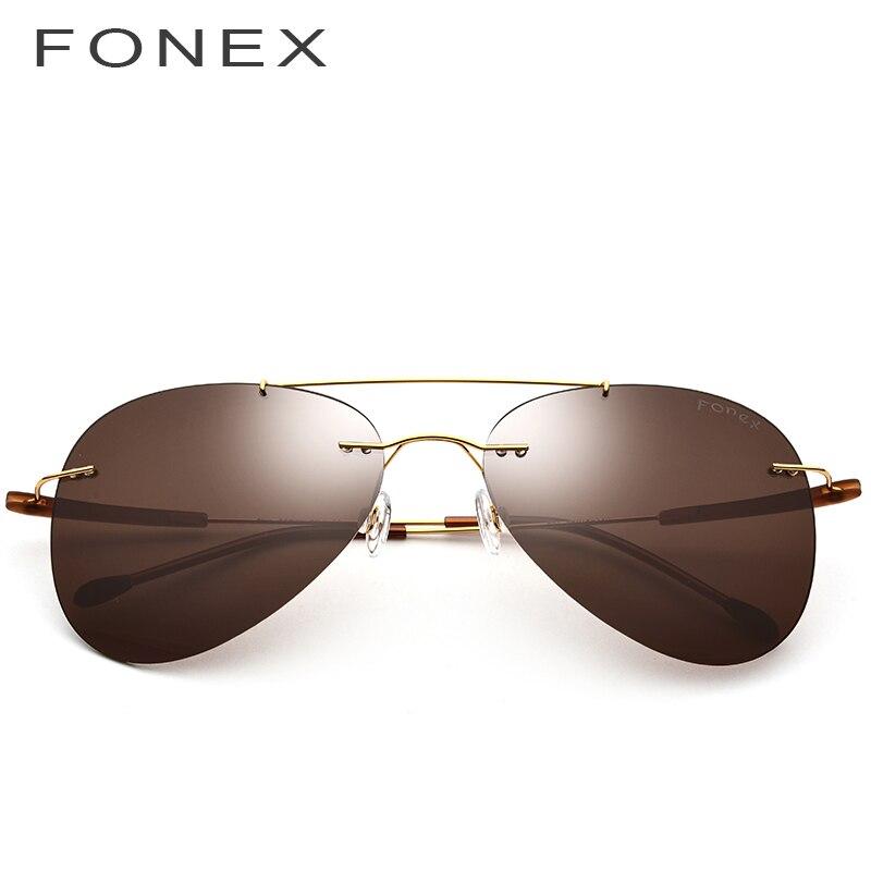 Rimless Polarized Sunglasses Titanium Alloy TR90 Women Fashion Brand Designer Unisex Frameless Aviation Sun Glasses For Men 851