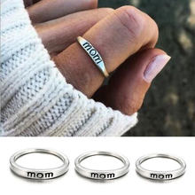 Classic Silver Color Ring Jewelry Letter Print Mom Ring for Women Clear Fashion Jewelry Gift Ring(China)
