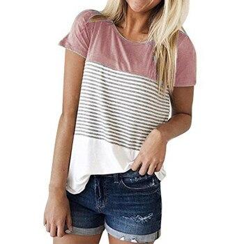 FREE OSTRICH Summer Patchwork Stripe T-Shirt Women Tops Tee Casual Short Sleeve Beach T Shirt Female Tunic Ropa Mujer C2235