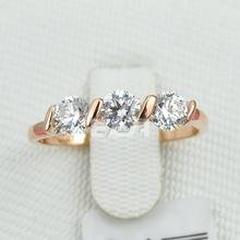 ring 18K Rose Gold Plated 0.25ct * 3 Pieces Zirconia Diamond Ladies Jewellry Rings