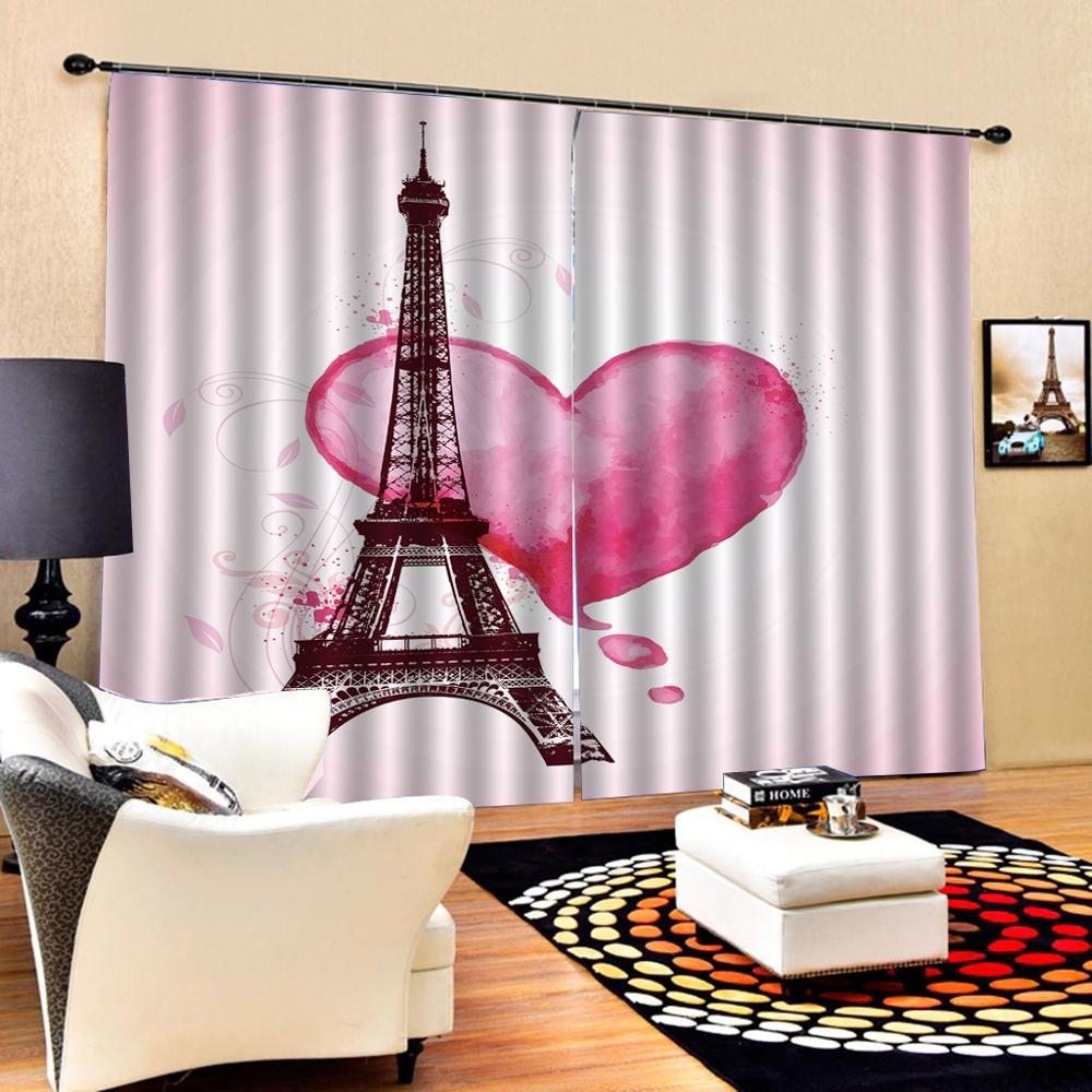 Pink tower curtains 3D Blackout Window Curtains For Living Room office Bedroom Drapes Cortinas heart curtain(China)