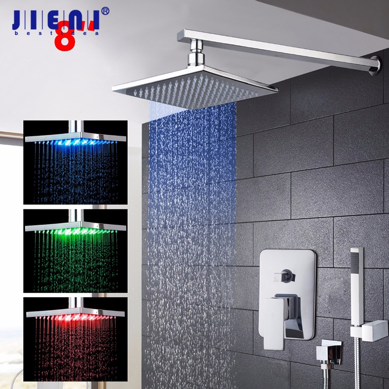 8 10 12 16 Inch LED Chrome Polished Bathroom Shower Mixer Faucet Set Single Handle Waterfall Rain Shower Set Faucets bathroom led polished chrome waterfall rain shower faucet