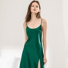 f60e9ddde 2018 summer ladies sexy satin nighties sleeveless nightgown v neck night  robe dress lace nightdress women sleepshirt nightwear