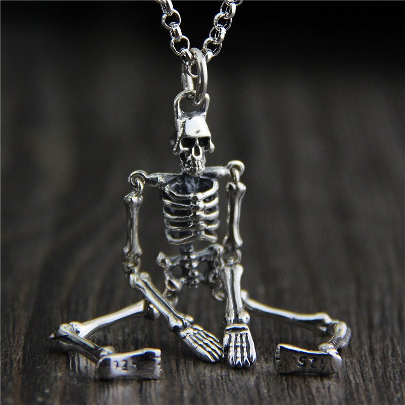 C&R Real 925 Sterling Silver Pendant Necklace personality unique Movable skull Thai Silver pendant men and women Fine Jewelry