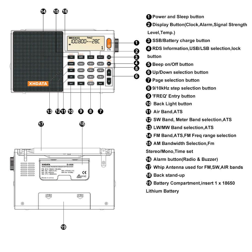 XHDATA D-808 ポータブルデジタルラジオ FM ステレオ/SW/MW/LW SSB エア RDS マルチバンドラジオスピーカー lcd 表示アラーム時計ラジオ