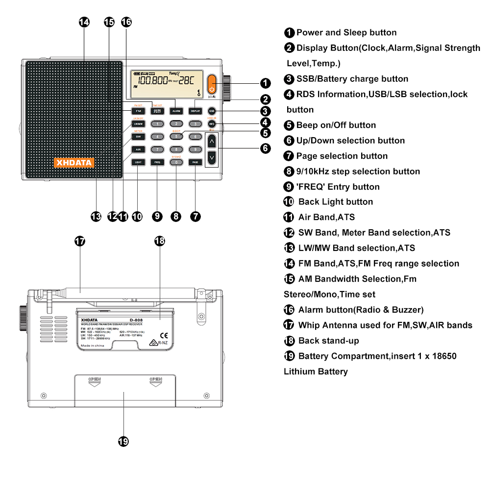 XHDATA D-808 Portable Numérique Radio FM stéréo/SW/MW/LW SSB AIR RDS Multi Bande Radio Haut-Parleur avec Écran lcd Réveil - 2