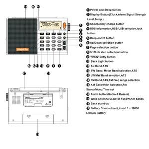 Image 5 - Xhdata D 808ポータブルデジタルラジオfmステレオ/sw/mw/lw ssbエアrdsマルチバンドラジオスピーカーlcd表示アラーム時計ラジオ