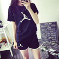 Free Shipping 2016 The New Big Yards  Leisure  Suit Womens  Summer Printing T'shirt Shorts Tight Pants Twinset