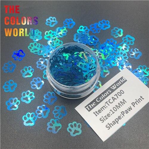 TCT-314 Лапа Печати в форме щенка голографический блестящий для ногтей Дизайн ногтей украшения боди-арт фестиваль стакан ремесло DIY аксессуары - Цвет: TCA700   200g