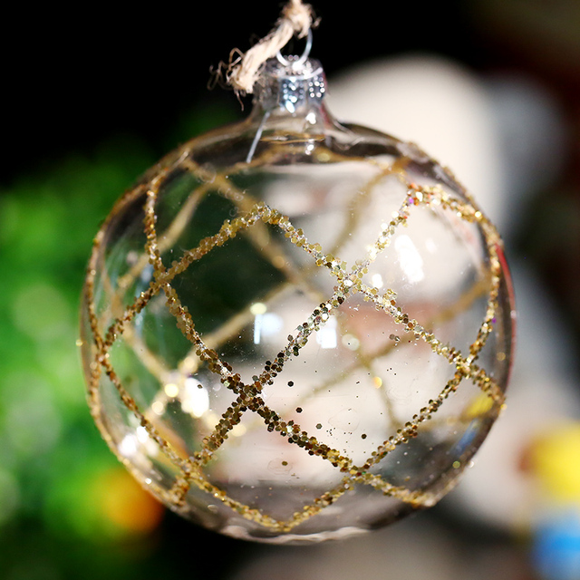 Factory 8cm Transparent Glass Ball Party Decoration/ Gold Gridding/ Xmas  Tree Ball Ornament Supple