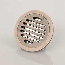 Copper Floor Drain Round Mesh Antique Large Flow Bathroom Bronze Deodorant