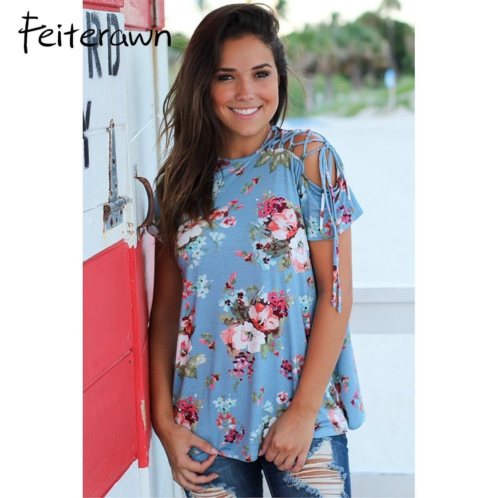Feiterawn 2018 New Best Favourite Arrival Summer Womens Casual O-Neck Blue Floral Top with Lace up Shoulder DL250812