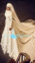 Newest white arab long sleeve Gelinlik Beading Bridal font b hijab b font Turkish Muslim Wedding