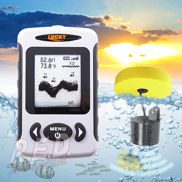 FF-718 LUCKY Professional Wired Fish Finder 80m(240ft.) Depth Range Water Resistant Adjustable Dot Matrix FSTN LCD Screen эхолот скат два луча lucky ff 718 duo