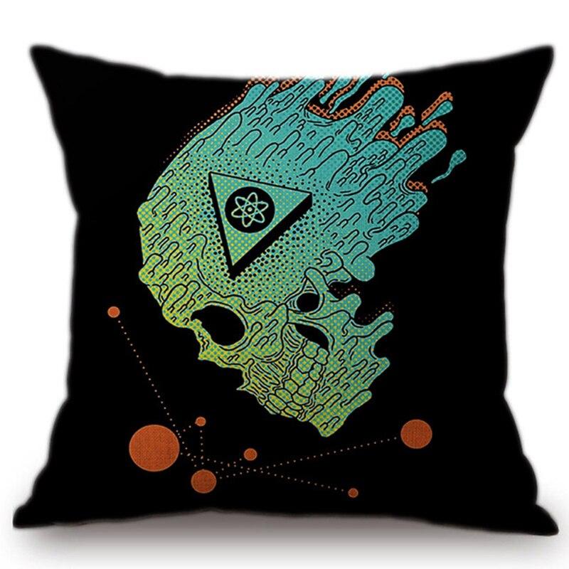 Новый Дизайн с принтом черепа Пледы Наволочки Чехлы для подушек офис стул в стиле панк Подушки случае Домашний Текстиль
