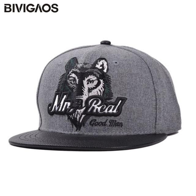 10fb4fa512e Autumn Winter Mens Fashion Leather Brim Wool Wolf Head Embroidery Hip Hop Cap  Snapback Baseball Caps Hats Bone For Men Women