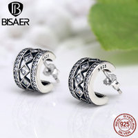Real 925 Sterling Silver Square Vintage Fascination Clear CZ Wedding Hoop Earrings For Women Engagement Jewelry