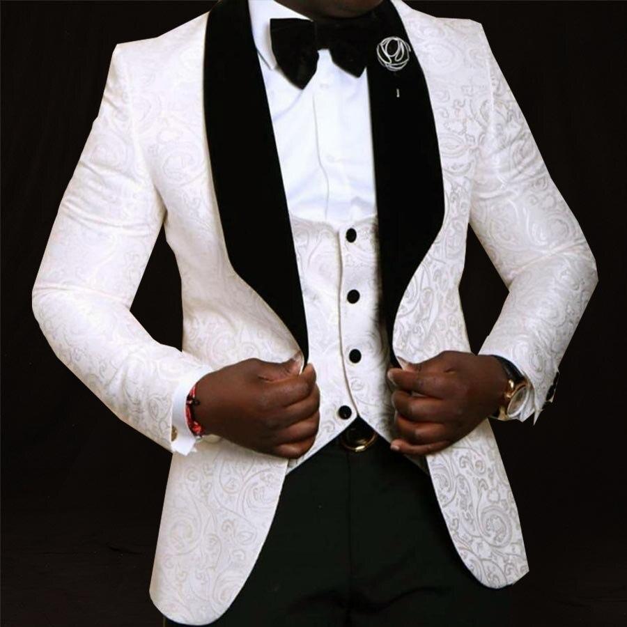 Custom Made Wedding Suits Voor Mannen Sjaal Revers Bruidegom Smoking Traje Hombre Formele Zwart/Wit Man Pak Blazer (jas + Broek + Vest)-in Pakken van Mannenkleding op  Groep 1