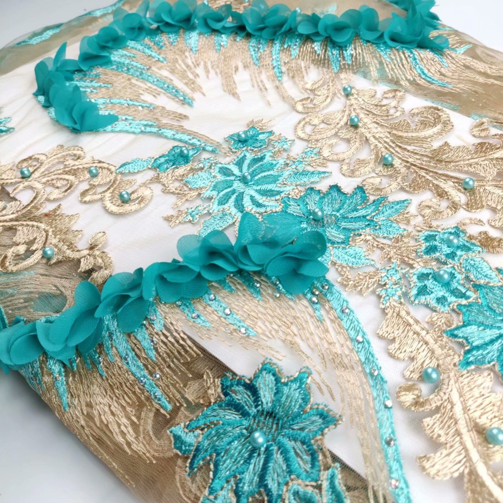 African Lace Fabric Emerald green 2018High Quality Flower 3D Applique Heavy Beaded Bridal Lace Fabric For