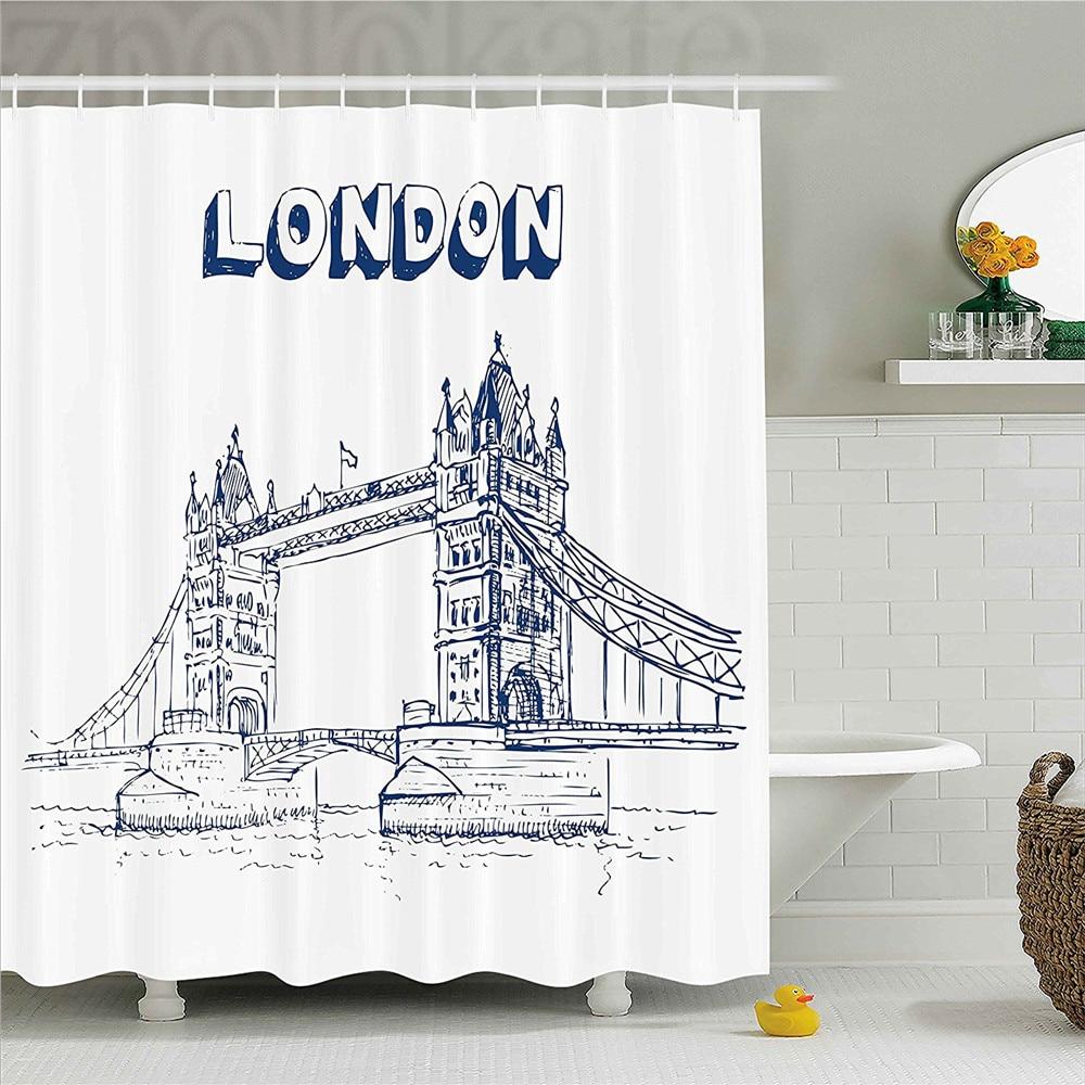 London Shower Curtain Tower Bridge In British Architecture International Culture Icon Illustration Bathroom Decor Set Wit