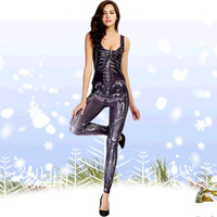 Helloween Sexy Women SkeletonCostumes Human Motorcycle Jumpsuits Adult Womens Halloween Catsuit Nightclub Party Clothes