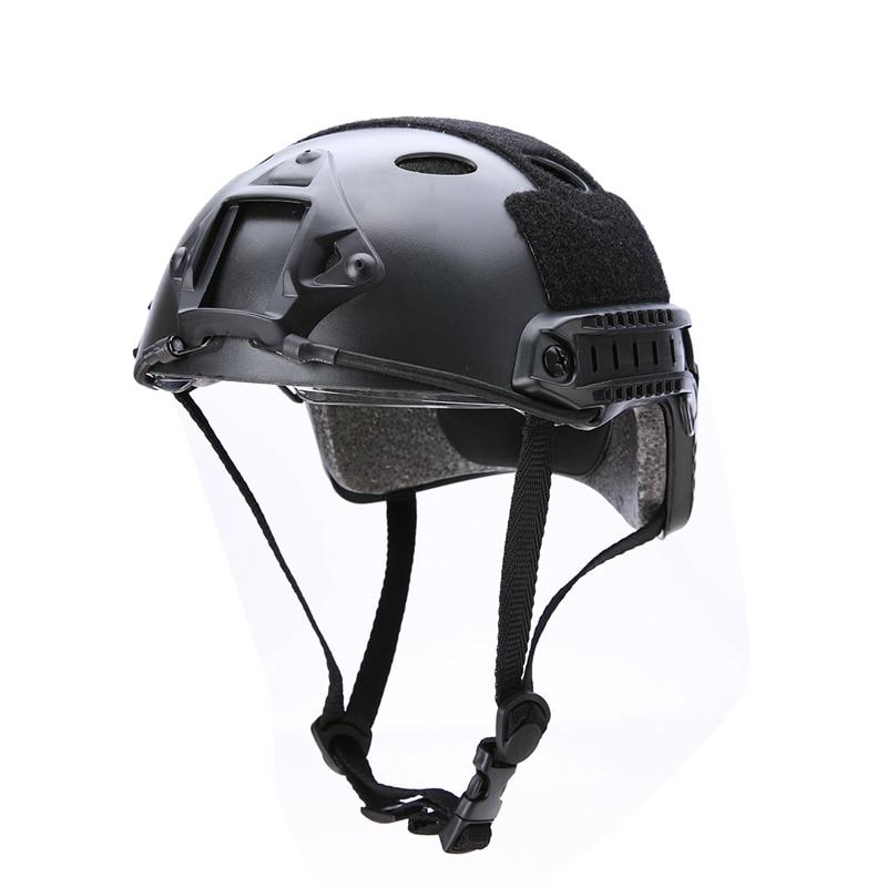 חדש 2 צבעים קסדה עם מגן Goggle צבאי טקטי Airsoft פיינטבול בחוץ ציד Crashproof קסדה חום / שחור