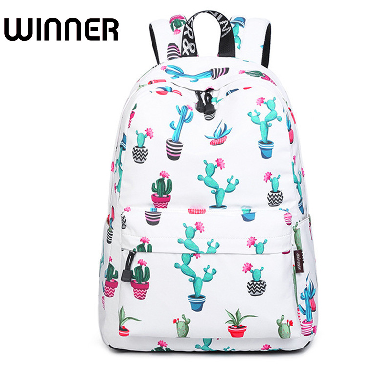 Fashion 15.6 Inch Waterproof Women Backpack Cute Flamingo and Cactus Pattern Printing Female Large Capacity Knapsack fashion 15 6 inch waterproof fabric women backpack pink cute sushi cuisine pattern printing large capacity girls bookbags