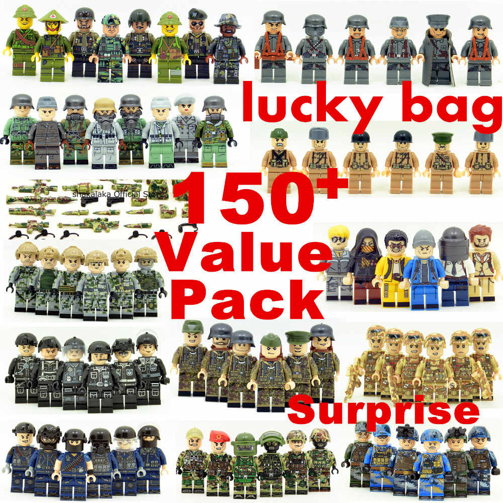 20pcs Random Style Surprise Value Pack SWAT Police World War 2 Military Soldier Army K98k Special forces Figures Toys Lucky bag