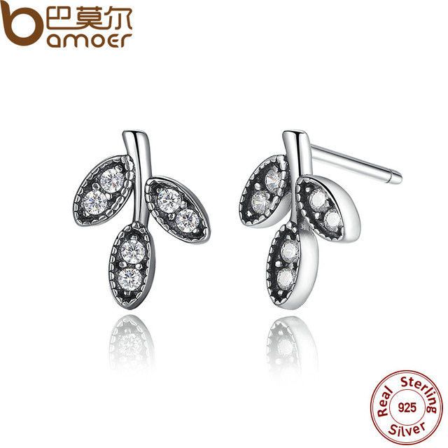 Sterling Silver Sparkling Leaves Stud Earrings