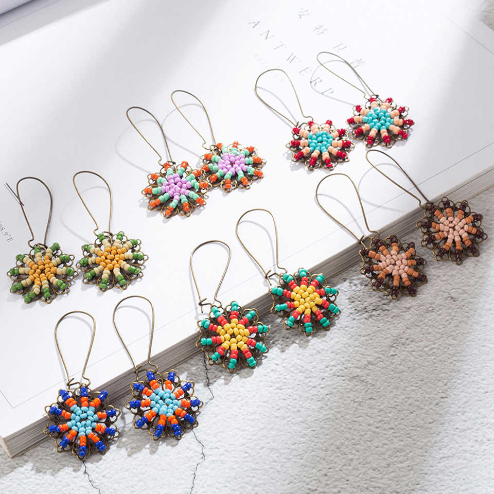 Fashion Charm Vintage Bohemian Resin Beads Earrings for Women Hanging Jewelry Hollow Flower Pendant Dangle Drop Earrings 2018