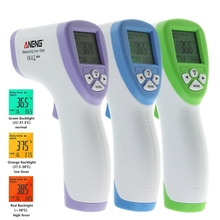 OOTDTY ABS Plastic Digital LCD Non contact IR Infrared Thermometer Forehead Body Temperature Meter Blue Purple