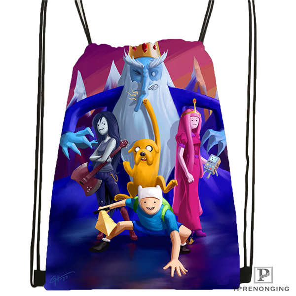 Custom Adventure-time   Drawstring Backpack Bag Cute Daypack Kids Satchel (Black Back) 31x40cm#2018611-2(17)