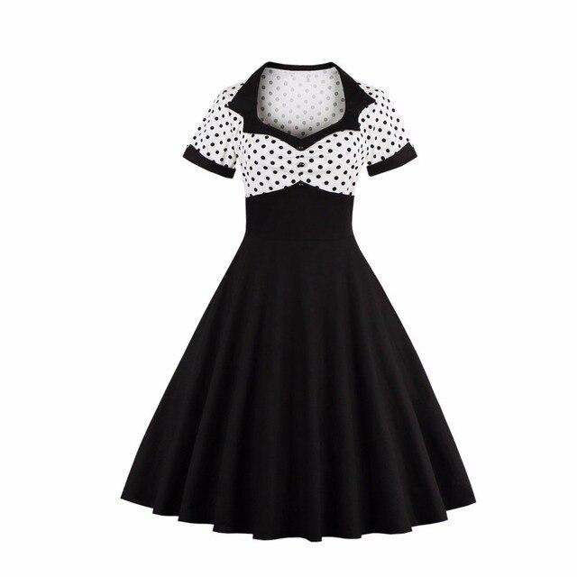 Plus Size Womens Vintage Dress Polka Dots