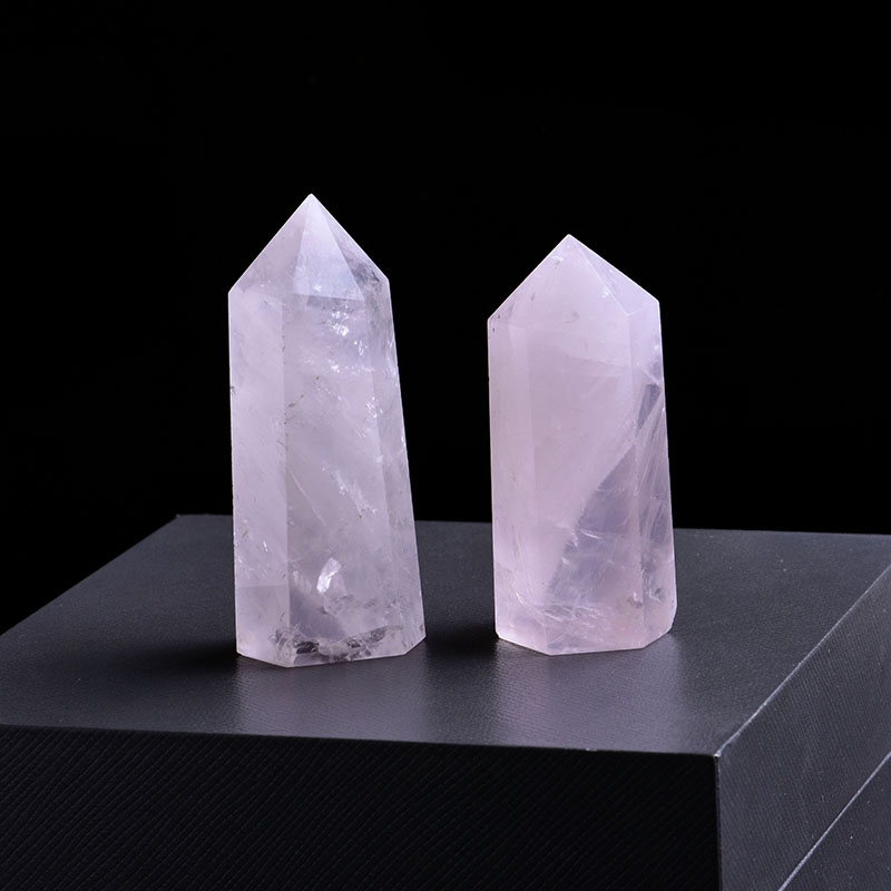 1PC Natural Rose Quartz Crystal Point Mineral Ornament Magic Repair Stick Family Home Decoration Study Decoration DIY Gift 1